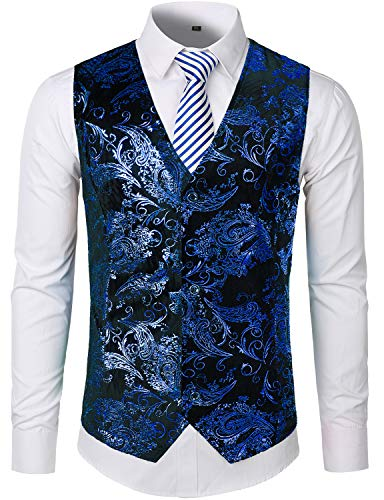 - ZEROYAA Mens Hipster Metallic Paisley Printed Single Breasted V-Neck Suit Vest/Tuxedo Waistcoat (XXX-Large, Z49-Blue)