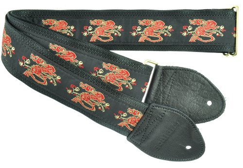 Souldier Custom GS0079BK05BK Handmade Dragon Guitar Strap, Red Gold