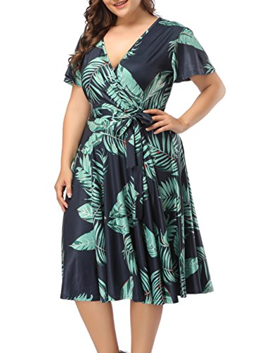 PARTY LADY Women's Plus Size Casual Floral Print Midi Dress Size XL Green (Sleeve Plus Flutter Tops)
