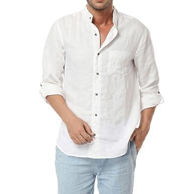 Najia Symbol Herren Beiläufig Lange Ärmel Kragenlos Buttons 100% Leinen Hemd  (S  44 ce9f3f43b1