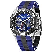 Megir Men Military Fashion Luxury Chronograph Stainless Steel Quartz Watch Analog Display Blue