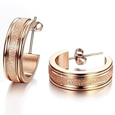 Opk Jewelry Fashion Women's Earrings Rose Gold Dull Polished Circle Titanium Steel Hoop Earring