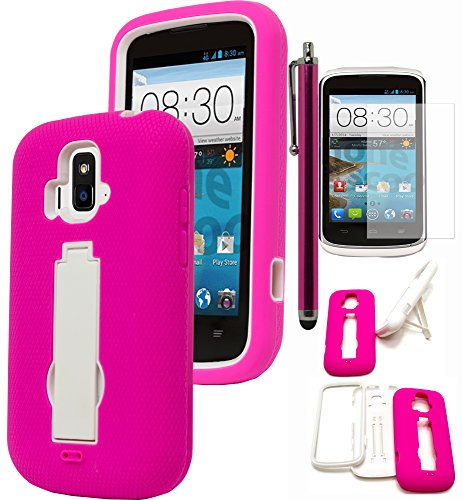 ZTE Sonata/Radiant Phone Case, Bastex Hybrid Soft Hot Pink Outer Cover Hard White Kickstand Case for ZTE Sonata/Radiant Z740INCLUDES SCREEN PROTECTOR AND STYLUS