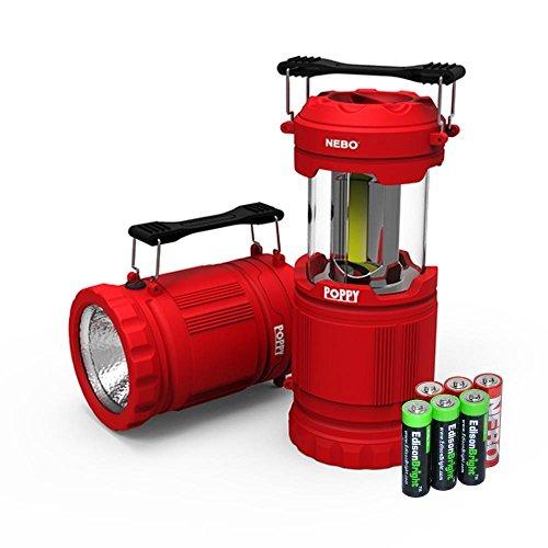 Nebo Poppy 6555 Combination LED 300 Lumen Lantern / 120 Lumen Spot Light w/ 3 X EdisonBright AA batteries (Red)