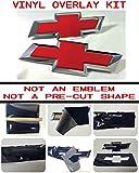 Chevy Bowtie Emblem Overlay Kit - DIY, Silverado, Colorado, Suburban, 1500, S10, Tahoe, Camero RED GLOSS, 651 ORACAL w/Extra Sheet