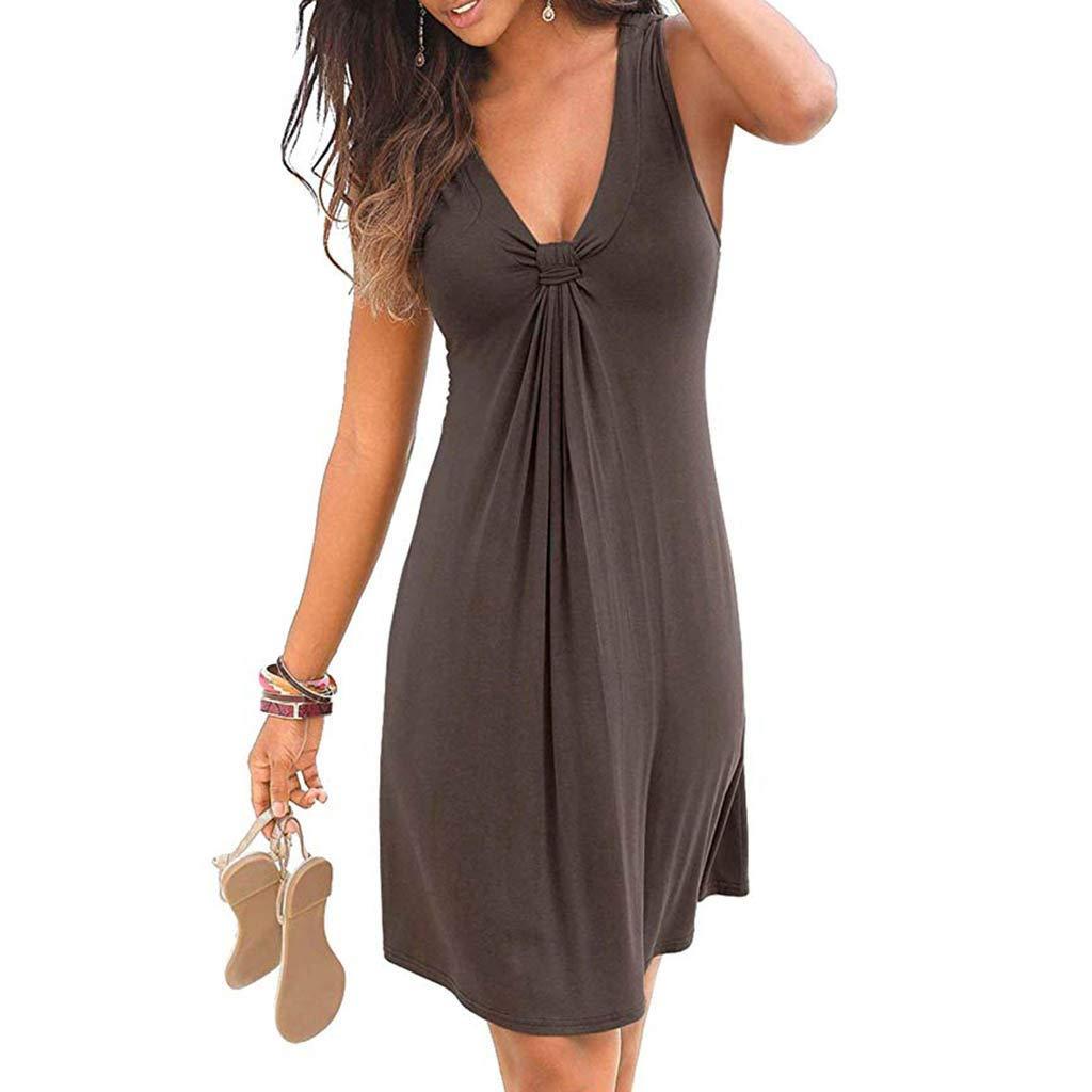 Lavany Womens Summer Dresses Sleeveless Ruched V Neck Strap Mini Dress Beach Dress
