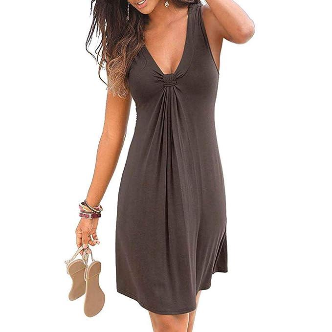 df98a7add3 Sayla Vestidos Mujer Verano Mini Fiesta Largo Boho Boda Sexy Elegantes  Encaje Gala Casual O-Cuello SóLido Sleeveless Noche Fiesta De La Playa  Vestido Corto  ...