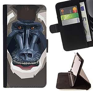 Momo Phone Case / Flip Funda de Cuero Case Cover - Polígono mono babuino;;;;;;;; - Samsung Galaxy Note 4 IV