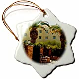 3dRose Jos Fauxtographee- Palms at Hotel - A hotel in Mesquite Nevada with palm trees and chairs - 3 inch Snowflake Porcelain Ornament (orn_273463_1)
