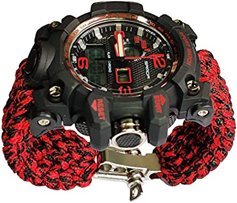 Red Adjustable Waterproof Resistant Watch 7 Strand 550 Paracord Loop Strap Nylon Customization Bracelet Strap Band (Stainless Steel)