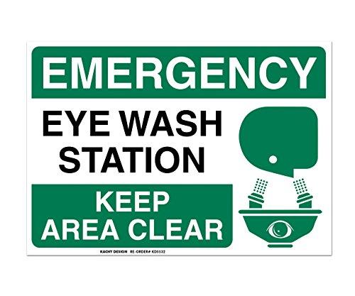 Eye Wash Station Sign - (Set of 2) Emergency Eye Wash Station Sign - 10