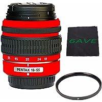 PENTAX DA 18-55mm f/3.5-5.6 AL Weather Resistant Lens (Red) + UV Filter + MicroFiber Cloth 6AVE Bundle