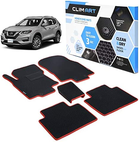 CLIM ART Honeycomb Custom Fit Floor Mats for Nissan Rogue 2014-2020, 1st & 2nd Row, Car Mats Floor Liner, All-Weather, Car Accessories for Man & Woman, Tapetes para Autos, Black/Red – FL051514017