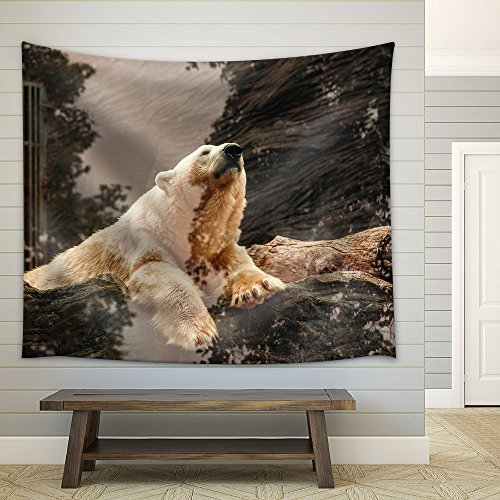 Polar Bear on the Rock Fabric Wall