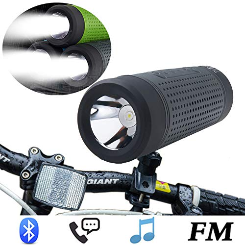 Bike Light,4000Mah USB Rechargeable LED Front Bicycle Streamlight Flashlight Set With Hands Free Bluetooth Speaker,FM Transmitter Radio,Portable Power Bank Battery,IP4 Waterproof Bike Lights,Graypx1