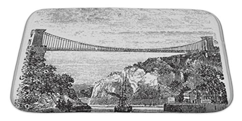 Micro Engineering Bridge (Gear New Bath Mat For Bathroom, Memory Foam Non Slip, Clifton Suspension Bridge In Clifton Bristol To Leigh Woods North Somerset, 34x21, 6009883GN)