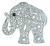 Sindary Unique Animal 2.17'' Silver-Tone Clear Rhinestone Crystal Elephant Brooch Pin Pendant BZ5102