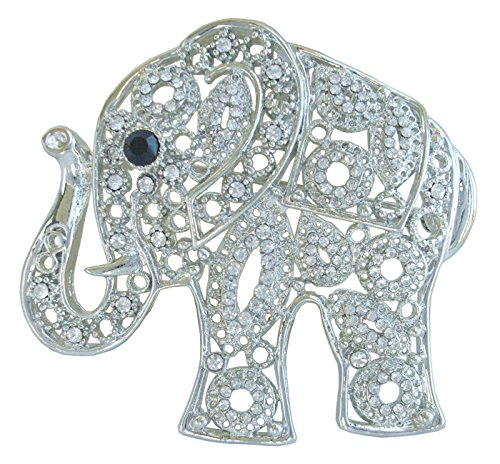 Sindary Unique Animal 2.17'' Silver-Tone Clear Rhinestone Crystal Elephant Brooch Pin Pendant BZ5102 by Animal Brooch-Sindary Jewelry