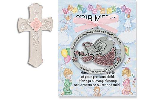 God Bless Baby Hanging Cross and Guardian Angel Crib Medal Gift Set for Girls~Baptism~Christening~Newborn
