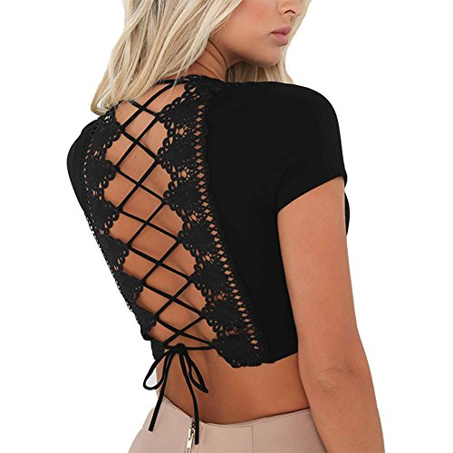 Antopmen Women Sexy Deep V Neck Short Sleeve Back Cross Tied Up Tee Backless Lace Crop Top (X-Large, Black)