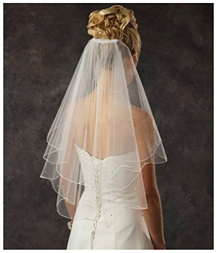 Shine Love 2016 3 Layer Beading Short Tulle with Comb Bride Wedding Veil 11054