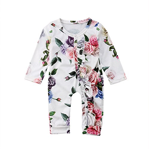 - beBetterstore Newborn Baby Girl Floral Jumpsuit One Piece Long Sleeve Flowers and Leaves Printed Romper Outfit Clothes