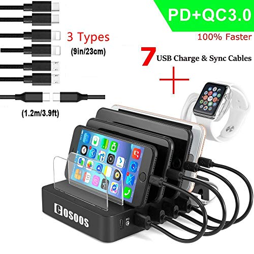 - COSOOS Charging Station for Multiple Devices,with Power Delivery PD& Quick Charge 3.0,7 USB Charger Cable(4 Type),lwatch Stand,90W Fastest 6-Port USB Charging Station Phone,Type-C Laptop,Kindle,Tablet