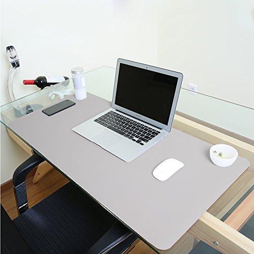 Alfombrilla de escritorio grande, impermeable, de piel sintetica, para raton y otros accesorios, suave, para la oficina y el hogar, rectangular, color gris S