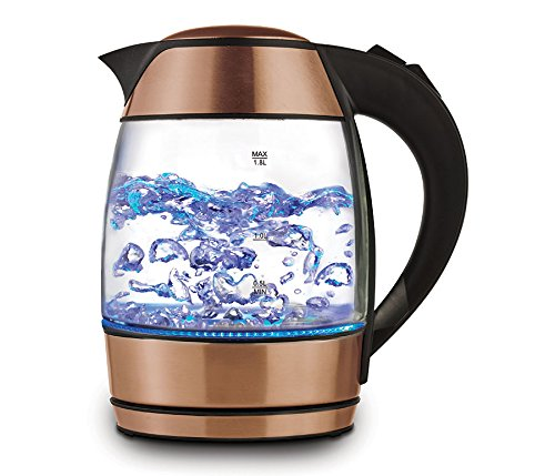 Copper 1.8-liter Electric Cordless Tempered Glass Tea Kettle with Infuser - Make Perfect Tea in one easy Step (Make Tea Infuser)