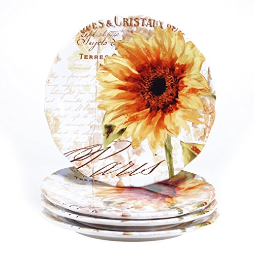 (Certified International Paris Sunflower Dinner Plate (Set of 4), 11