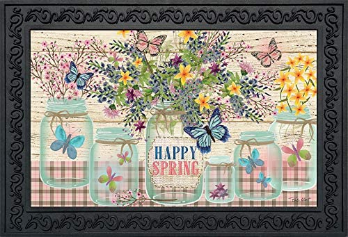Briarwood Lane Happy Spring Mason Jar Floral Doormat Indoor Outdoor 18 x 30