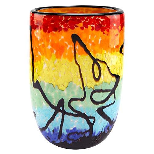 Badash Murano Style Art Glass Allura Multicolor Oval 10.5