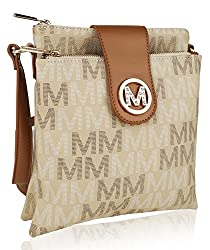 Mkf Crossbody Bags For Women ?�� Adjustable Strap ?�� Vegan Leather ?�� Crossover Side Messenger Womens Purse Beige