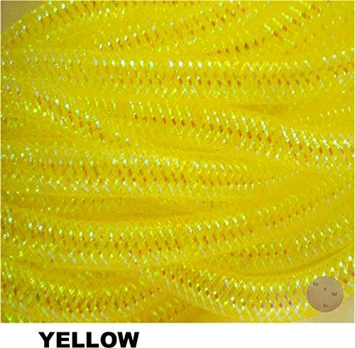 Decorative Metallic Flex Mesh Tubing Ribbon 2 Packs of 12 Yards - 24 Yards Total (Yellow) (Poly Supply Tube)