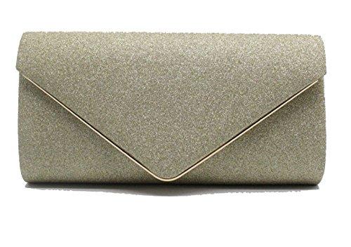Clutch Women's Bag Flapped Chain Bag Shining Bling Evening Shoulder Envelope Gold Purse Aqat6