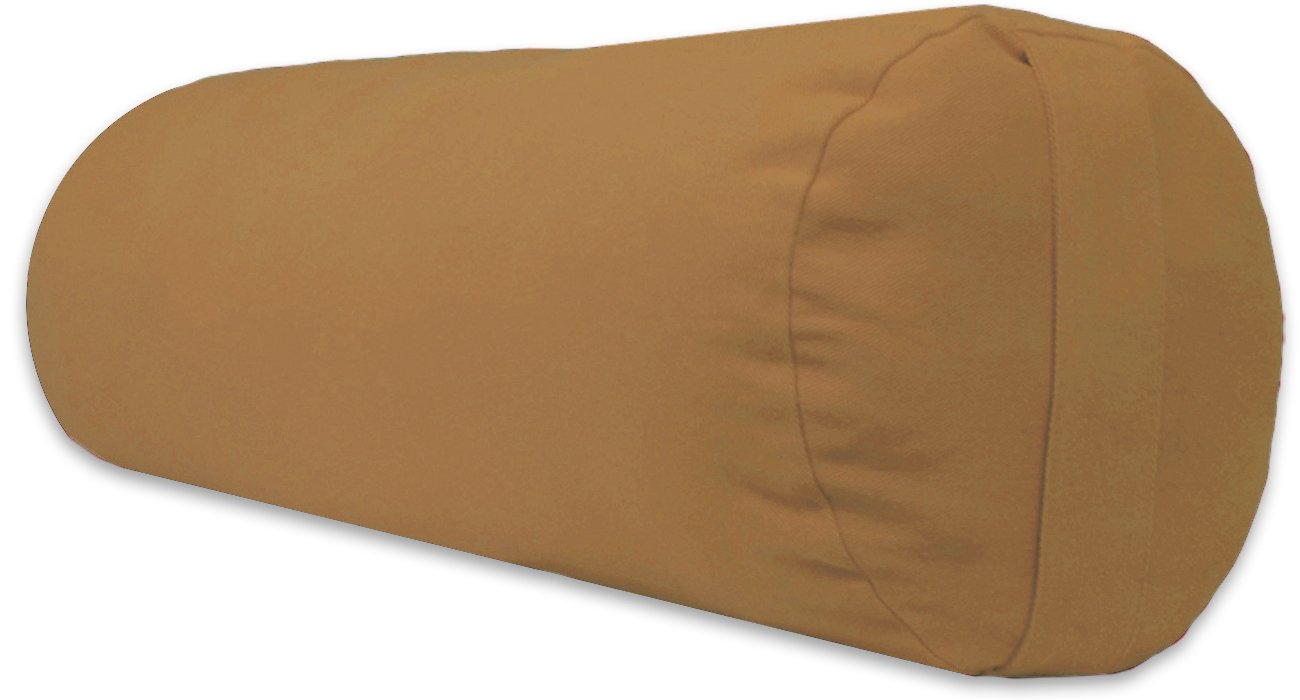 YogaAccessories Supportive Round Cotton Yoga Bolster - Fawn
