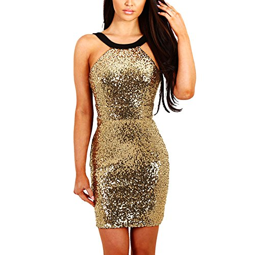 BabyPrice Sparkling Sequin Halter Sleeveless Mini Bodycon Dress Backless Cocktail Club Party Dress