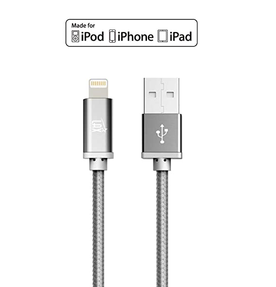 iPhone Charger Lightning Cable - [MFi Certified] Durable Braided Apple Lightning USB Cord for latest iOS including iPhone X/8/8Plus/ 7/7Plus/IPad Pro