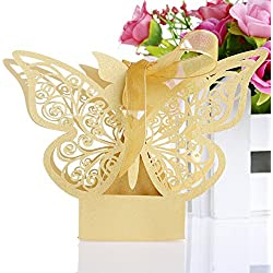 OHTOP 50Pcs Paper Butterfly Wedding Cake Candy Box Party Favor Ribbon Baby Shower (Gold)