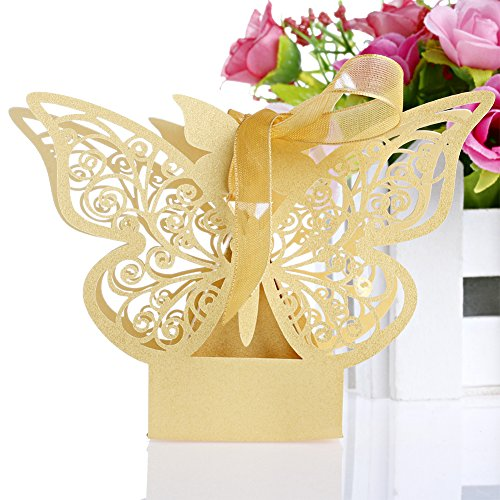 OHTOP 50Pcs Paper Butterfly Wedding Cake Candy Box Party Favor Ribbon Baby Shower (Brown Cake Favor Boxes)