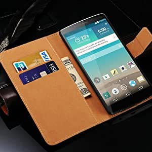 Genuine Leather Wallet Case For LG Optimus G3 D850 D855 With Stand Phone Bag Flip Style With 3 Card Holder Brand New 2015 --- Color:rose