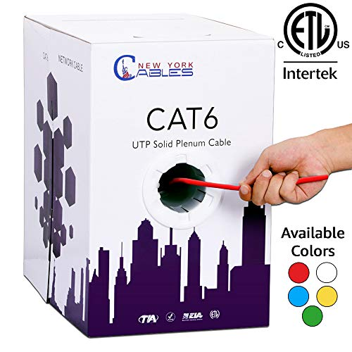 (Cat6 Plenum 1000ft Bulk UTP Solid 23Awg CMP 550MHz Ethernet Network Cable Red)