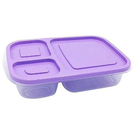 Veryeah plástico – Tartera con Tapa 3 Compartimentos Comer Fruta Contenedor Picnic Cajas para niños Adultos