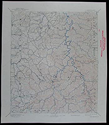 Manchester Clay Laurel Jackson Kentucky vintage 1934 USGS topo chart map
