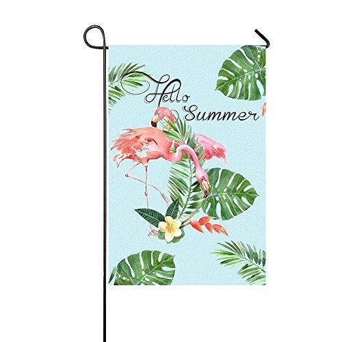 Lily's Rossne Garden Flag, Hello Summer Flamingo Outdoor Garden Flags, Home Welcome Holiday Garden Flag Decor - Accept Custom Garden Flag 12.5