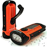 iGadgitz Xtra 5m Waterproof Eco Rechargeable Solar & Hand Crank LED Torch Flashlight with 5 Year Warra