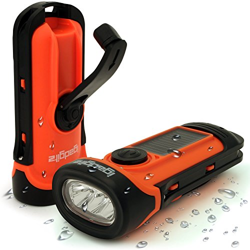 51Bv%2BhB0c9L - iGadgitz Xtra 5m Waterproof Eco Rechargeable Solar & Hand Crank LED Torch Flashlight with 5 Year Warranty
