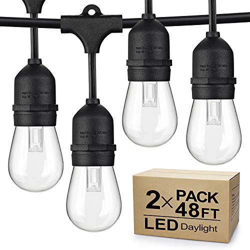 2-Pack 48Ft Dimmable LED Outdoor String Lights for Patio Daylight White, IP65 Waterproof Hanging Edison Bulbs, Commercial Grade Lights String Create Ambience for Garden Backyard Party (Total 96ft)