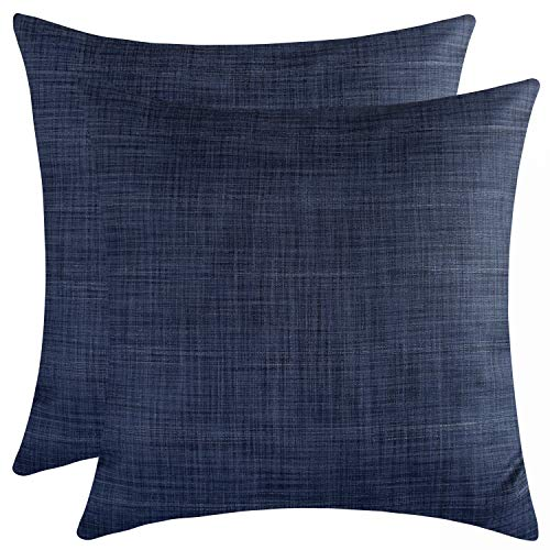 The White Petals Dark Blue Cushion Covers for Sofa, Couch & Bed (18x18 inch, Pack of 2)