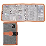 BUBM Travel Electronics Accessories Organizer Roll, SD Card / USB Data Cable/USB Flash Drives Management- 4 Folders, Gray